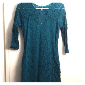 Teal Lace Mini Dress